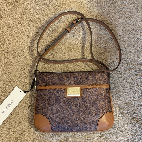 Calvin Klein brown logo crossbody small bag